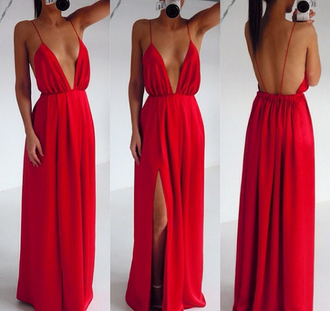 dress red red dress sexy low v neck gorgeous backless dress slit dress
