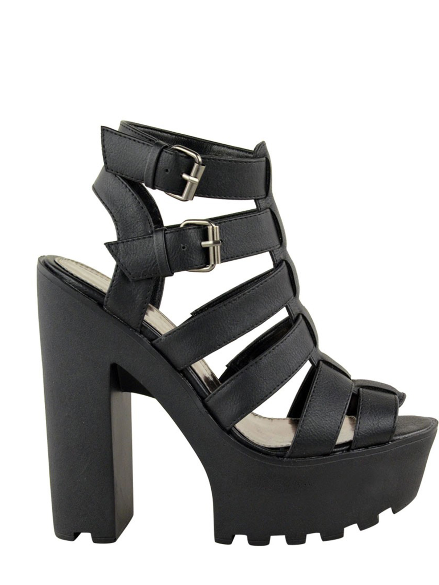 Pixie black cleated sole platforms
