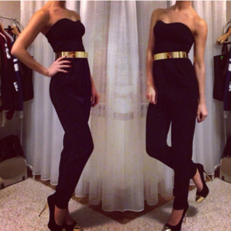 pants black jumpsuit jumpsuit fashion black gold gold belt strapless long black jumper metal gold waist belt dress jeans golden belt strapless jumpsuit strapless black jumpsuit sexy