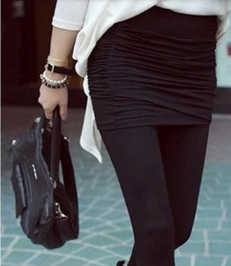 skirt black bodycon ruche ruched