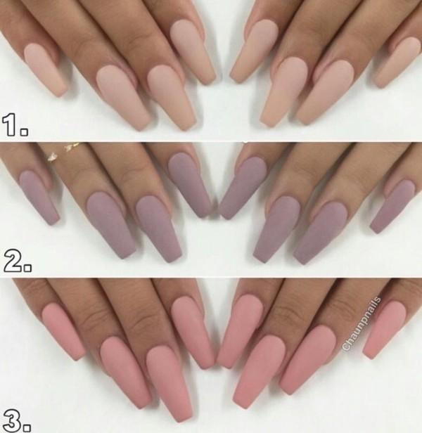 Nail polish: nails, matte, nude, girly, pretty, pink, purple ...