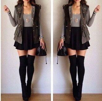 skirt black knee high socks stripes white leather vest purse high heels top cardigan shoes jacket