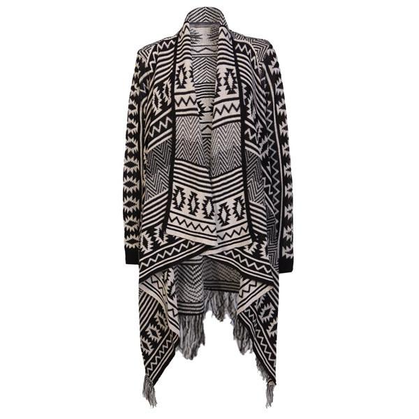 sweater desert traveler cardigan makeup table vanity row dress to kill chic black white cream aztec tribal pattern prtin print pattern