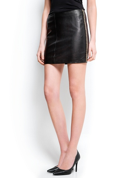 mango new chain trimmed leather skirt