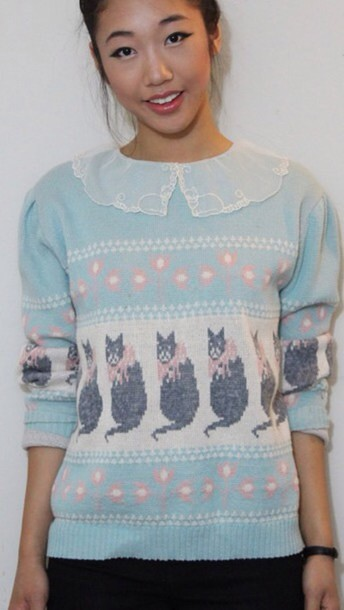 sweater blue collar cat sweater cat sweatshirt cats pullover