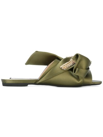 bow metal women sandals leather cotton green shoes