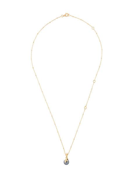 Kasun London women pearl necklace pendant gold silver grey metallic jewels