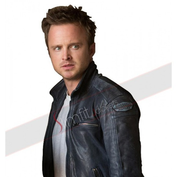 leather jacket blue fashion need for speed aaron paul outfits outwear movie lifestyle cars tobey marshall men's wear clothing