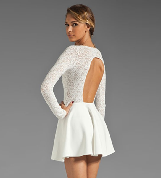 White Lace Splicing Cutout Back Dress @ Dresses,Party Dresses ...