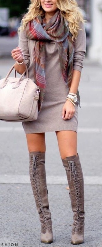 shoes dress grey boots boots knee high boots sweater dress