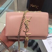 bag,nude,yves saint laurent,pink,girly,grey,gold