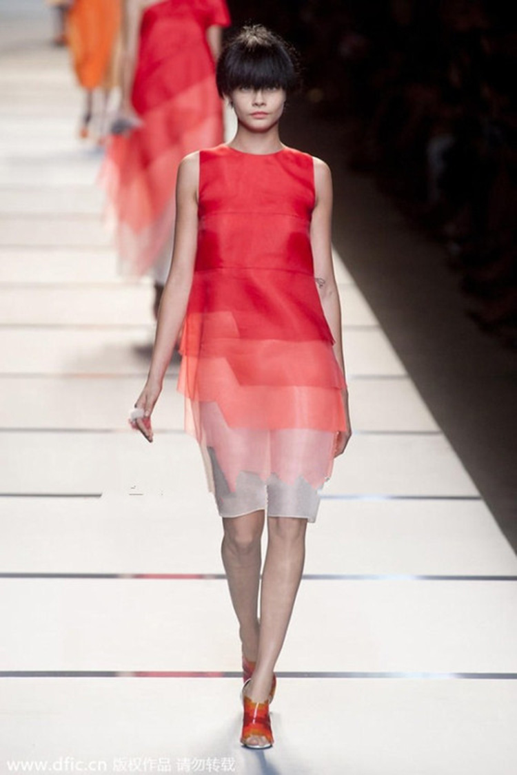 Orange Ombre Organza Vest Dress A350$85