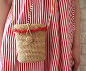 bag,basket bag,raffia bag,crossbody bag,coral,round bag,straw bag,crochet bag