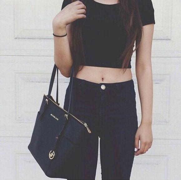 jeans bag black jeans t-shirt top slim jeans tight jeans black crop top black tank top long hair black handbag black outfit brown hair