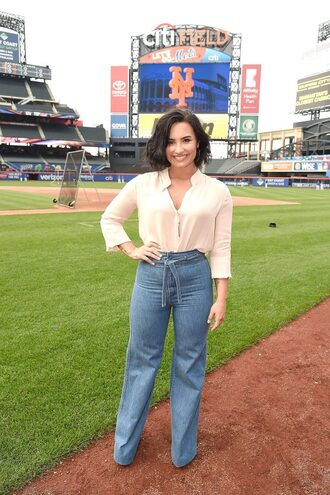 pants wide-leg pants demi lovato blouse blue pants