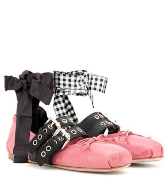 Miu Miu embellished leather pink shoes