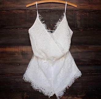 jumpsuit white cute laces sweet short lace up lace top style