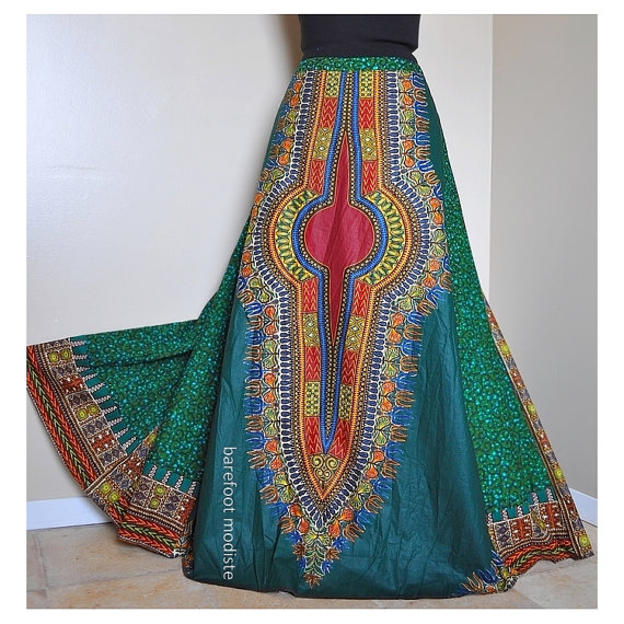 Green Harvest  Long African Dashiki Skirt OOAK by BarefootModiste