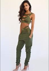 swimwear,olive green,girly,bikini,two-piece,bikini top,bikini bottoms,strappy,army green,sophia miacova,swimwear two piece