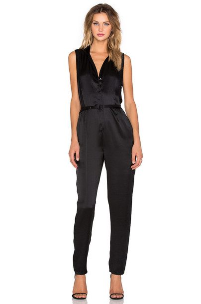 Equipment jumpsuit sleeveless satin black