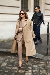 coat,all beige everything,beige,beige coat,blazer,pants,beige pants,matching set,power suit,two piece pantsuits,sunglasses,miroslava duma,streetstyle,fall outfits,office outfits,work outfits,winter work outfit