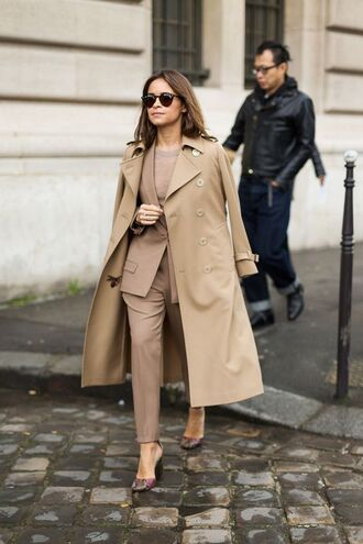 coat all beige everything beige beige coat blazer pants beige pants matching set power suit two piece pantsuits sunglasses miroslava duma streetstyle fall outfits office outfits work outfits winter work outfit