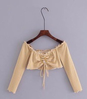blouse,girly,off the shoulder,off the shoulder top,crop tops,cropped,crop,long sleeves,stripes,striped top,girly wishlist,ruffle