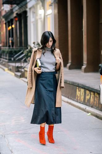 skirt tumblr blue skirt midi skirt coat camel camel coat boots red boots sweater grey sweater turtleneck turtleneck sweater