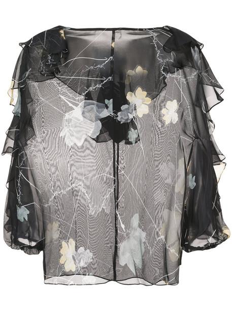 Thomas Wylde blouse sheer women floral leather black silk top