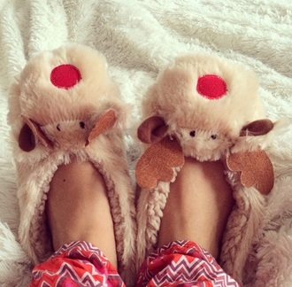 shoes slippers pajamas reindeer chrismas deer print deer deer pattern cute shoes cute