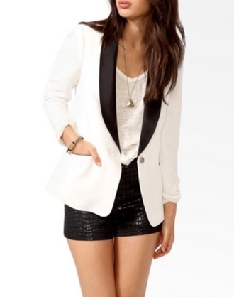 jacket white blazer black collar