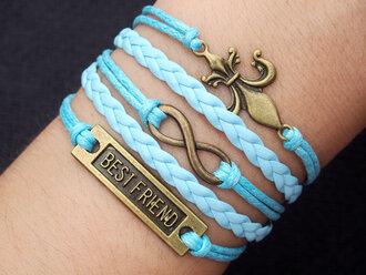 hair accessories jewels best friend bracelet bracelets infinity infinity bracelet octopus bracelet charm bracelet blue mint bracelet leather bracelet women bracelet