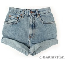 """ALL SIZES """"TURN"""" Vintage Levi high-waisted denim shorts blue cuffed rolled turn up jeans - Levi's 