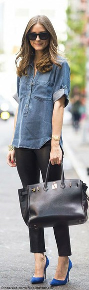 olivia palermo bag blue shirt black pants blue heels handbag streetstyle casual sunglasses casual outifit