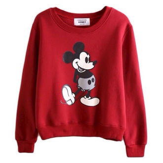 sweater mickey mouse sweatshirt red long sleeve