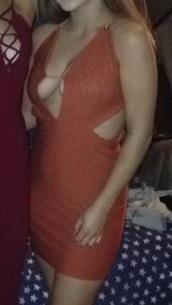 dress,cut-out dress,copper