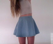 shirt,crop tops,tank top,top,clothes,girly,casual,sleeveless,neutral,skirt,grey,denim,jeans,crop,skater,skater skirt,grunge,pale,style,apparel,blue,white,denim skirt