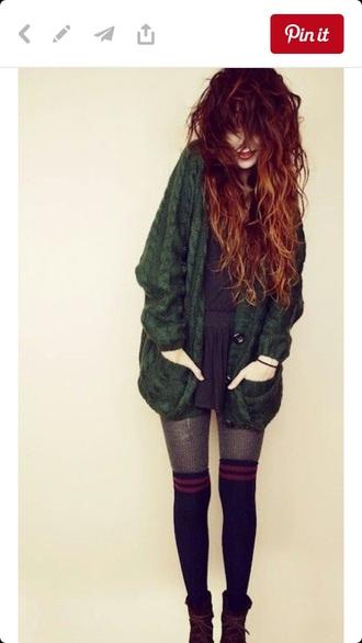 cardigan green grunge 90s style sweater