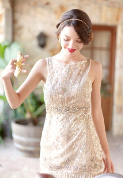 white shift dress beaded tumblr beautiful 1920s stunning classy elegant cocktail