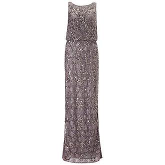 dress beaded gown aidan mattox gun metal