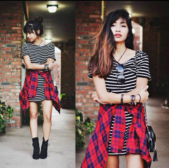 plaid shirt dress urban clothing t-shirt dress