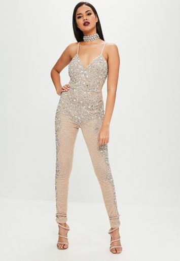 Missguided - Carli Bybel x Missguided Nude Embellished Jumpsuit