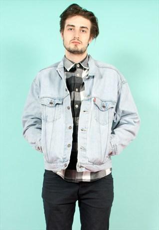 Vintage 90's levi's faded blue oversize denim jacket