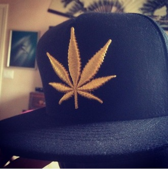 gold cap snapback weed weed leaf mens accessories