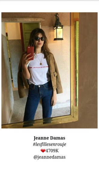 top blanc ?criture rouge jeanne damas