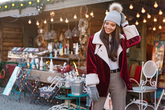the mysterious girl blogger jacket pants shoes belt hat beanie christmas shearling jacket gloves gucci belt winter outfits