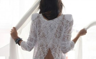 blouse open back lace white