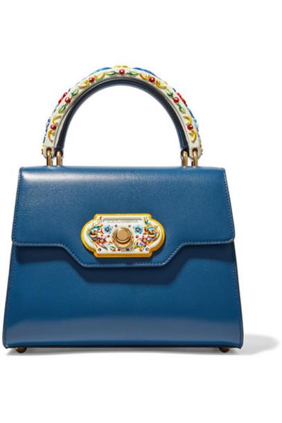 Dolce & Gabbana wood leather blue cobalt blue bag