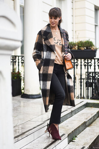 thank fifi blogger coat sweater jeans shoes bag ankle boots black jeans winter outfits