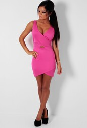 hot pink,bodycon dress,wrap dress,dress